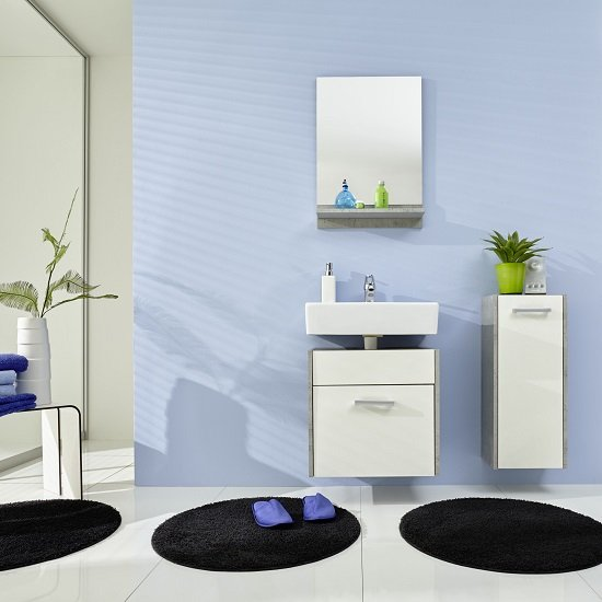 Read more about Wilmore bathroom furniture set 2 in matt white and concrete
