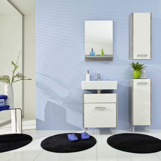Read more about Wilmore bathroom furniture set 3 in matt white and concrete