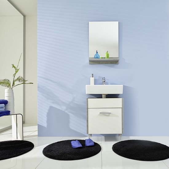 Read more about Wilmore bathroom furniture set 4 in matt white and concrete