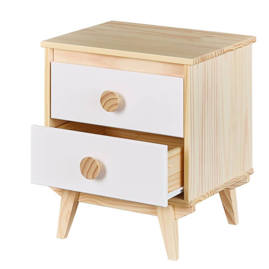 Wilna FSC Wooden Bedside Cabinet In Natural White With 2 Drawers_2