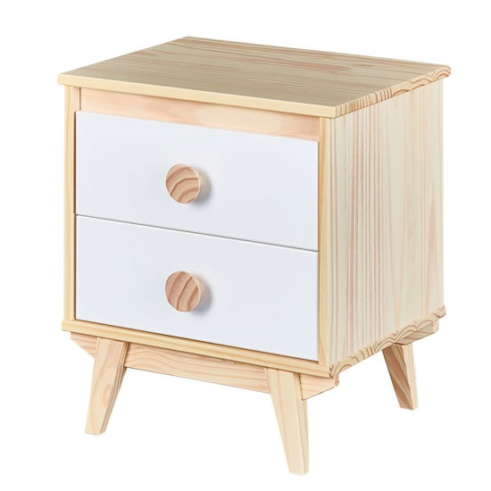 Wilna FSC Wooden Bedside Cabinet In Natural White With 2 Drawers