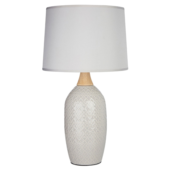 Wilon Grey Fabric Shade Table Lamp With Grey Ceramic Base