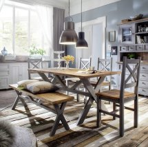Wilson Wooden Dining Table Large In Grey With 4 Chairs And Bench