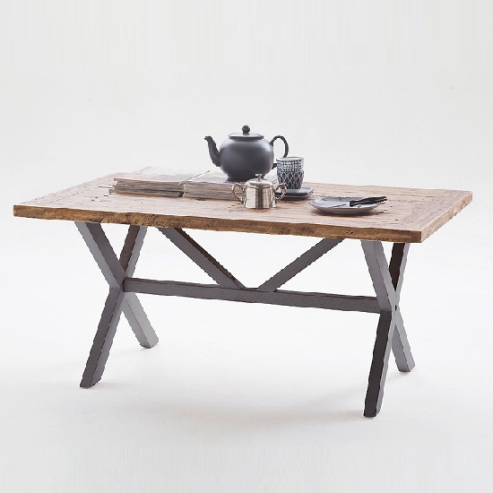 Wilson Wooden Coffee Table In Antique Grey And Brown