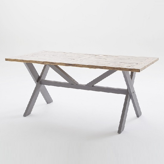 Wilson Wooden Dining Table In Antique Grey And Brown