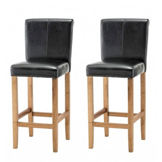 Wilton Black Leather Bar Stool In Pair With Oak Leg