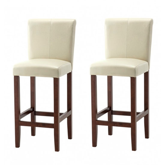 Wilton Ivory Leather Bar Stool In Pair With Dark Leg