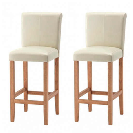Wilton Ivory Leather Bar Stool With Oak Leg In Pair