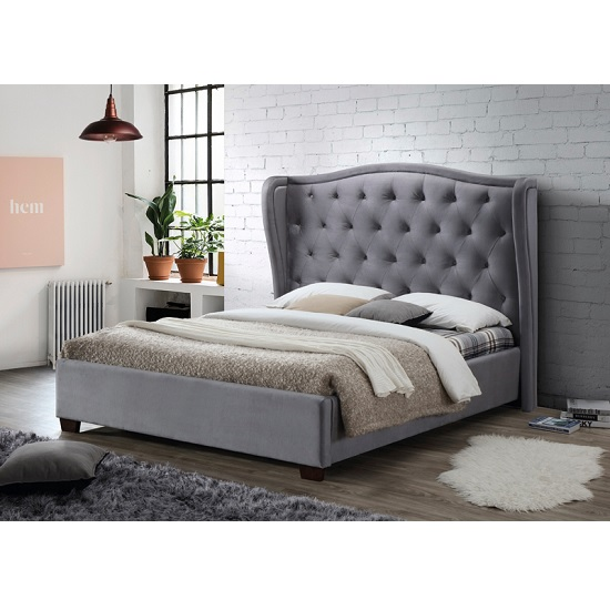 Wilton Fabric Bed In Grey With Dark Wooden Feet