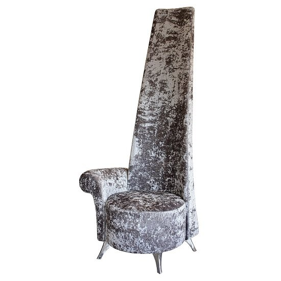 Wilton Right Handed Potenza Chair In Silver Crushed Velvet