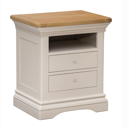 Winchester Large Wooden Bedside Table In Silver Birch