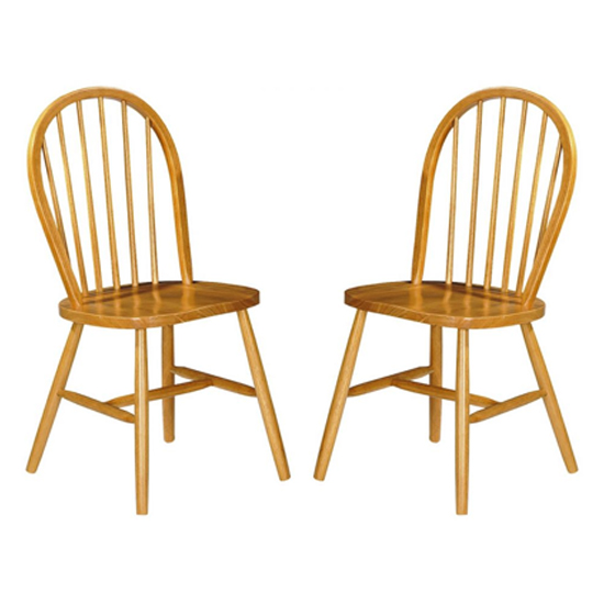 Windsor Honey Lacquered Wooden Dining Chairs In Pair_1