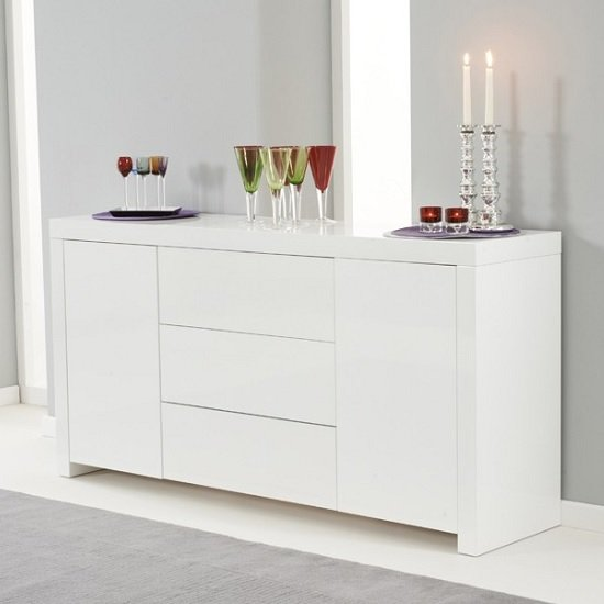 Windsor Sideboard In White High Gloss With 2 Doors