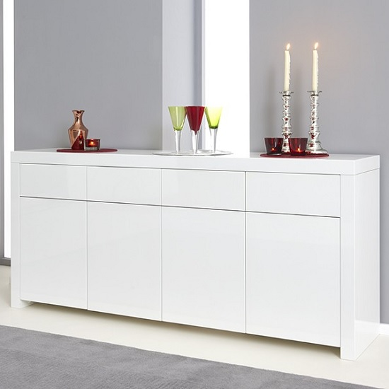 Windsor Sideboard In White High Gloss With Storage