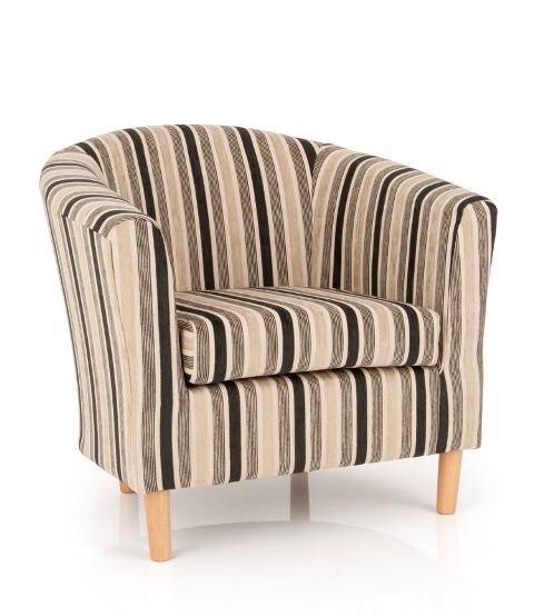 Windsor Upholstered Fabric Black Stripe Tub Chair 20214