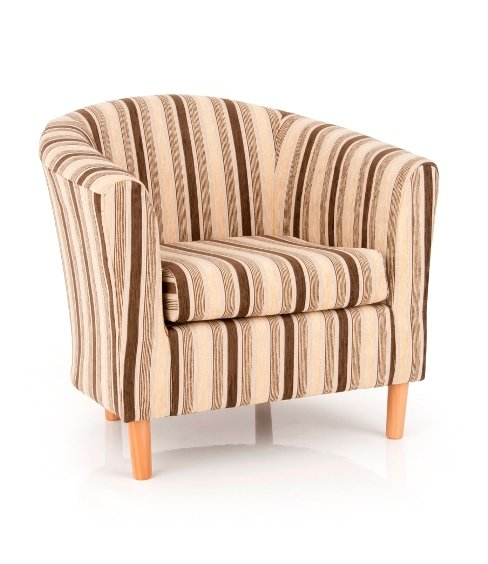 Windsor Upholstered Fabric Brown Stripe Tub Chair