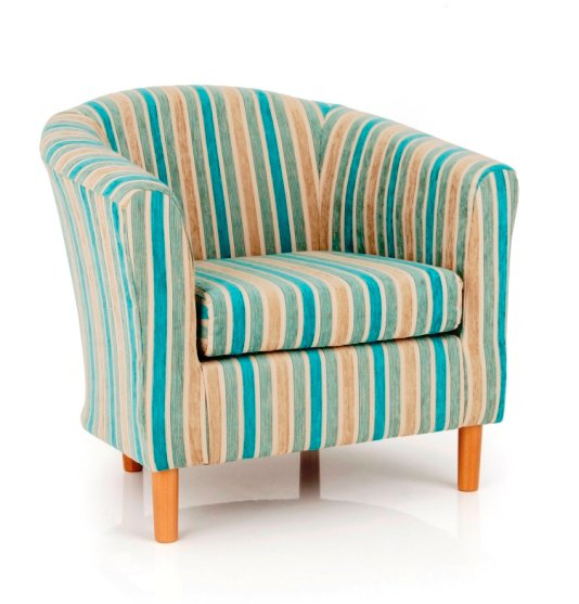 Windsor Upholstered Fabric Teal Stripe Tub Chair 20216