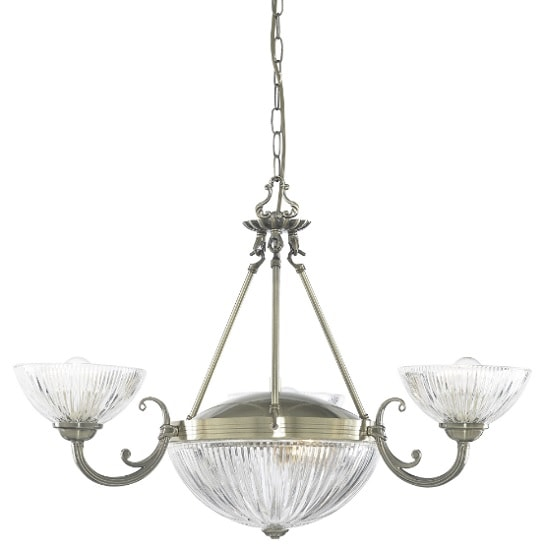 Windsor II 5 Light Ceiling In Antique Brass