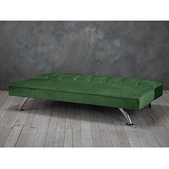 Wingert Velvet Sofa Bed In Green With Silver Finished Legs_2