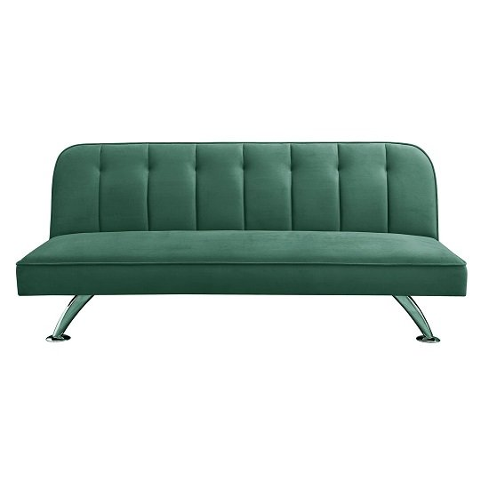Wingert Velvet Sofa Bed In Green With Silver Finished Legs_6