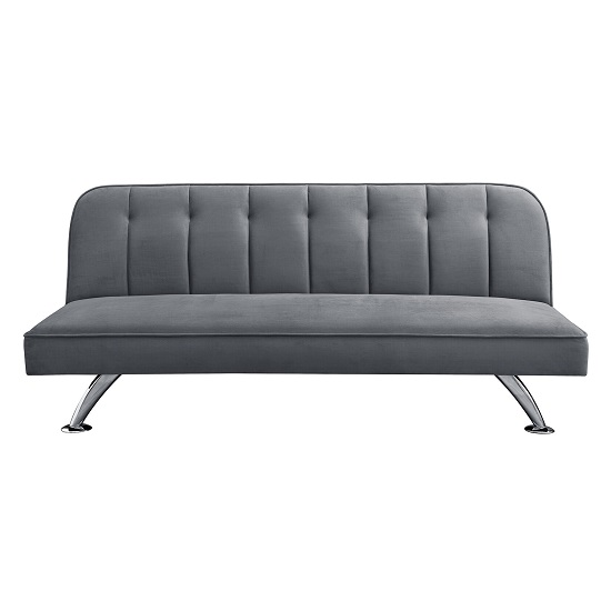 Wingert Velvet Sofa Bed In Grey With Silver Finished Legs_3