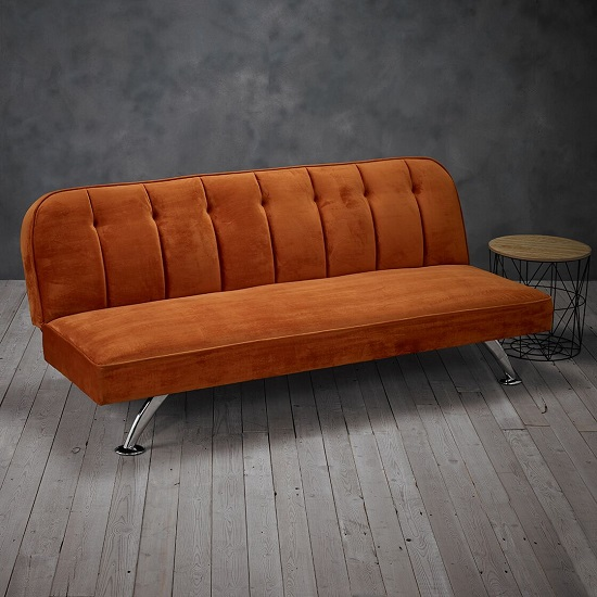 Wingert Velvet Sofa Bed In Orange With Silver Finished Legs_1