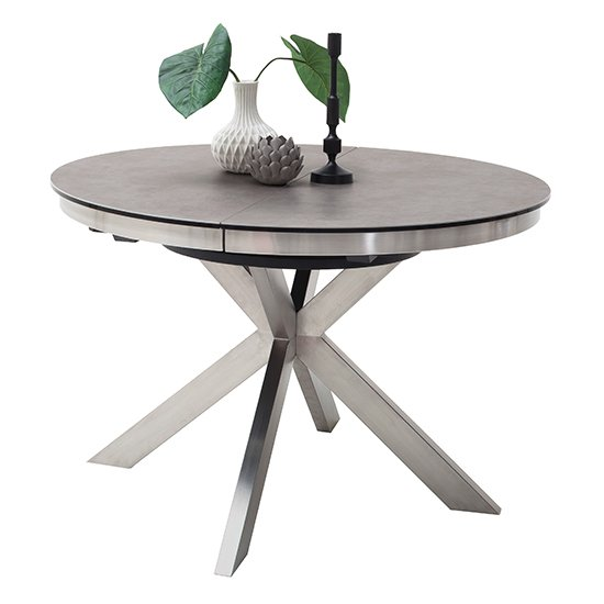 Winnipeg Extendable Dining Table In Grey With Brushed Legs