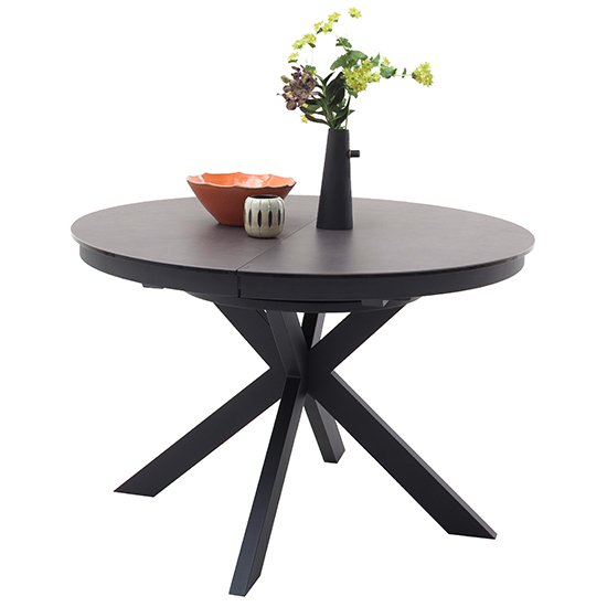 Winnipeg Extendable Dining Table In Grey With Matt Black Legs