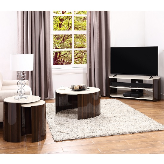 Winslow TV Stand In Walnut And Cream High Gloss_2
