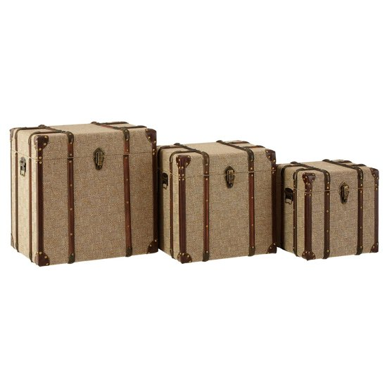 Winstall Wooden Set Of 3 Storage Trunks In Natural Linen Effect