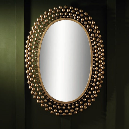 Winster Contemporary Wall Mirror Oval In Gold