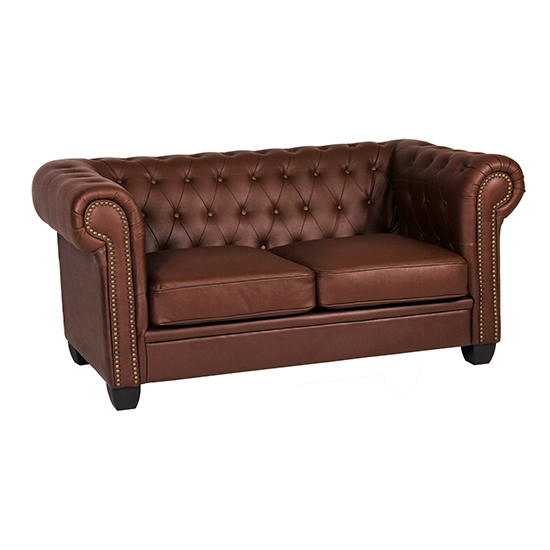Winston Leather And PVC 2 Seater Sofa In Auburn Red