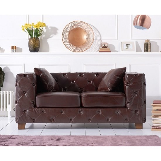Winter Chesterfield 2 Seater Sofa In Brown Leather And Wood legs