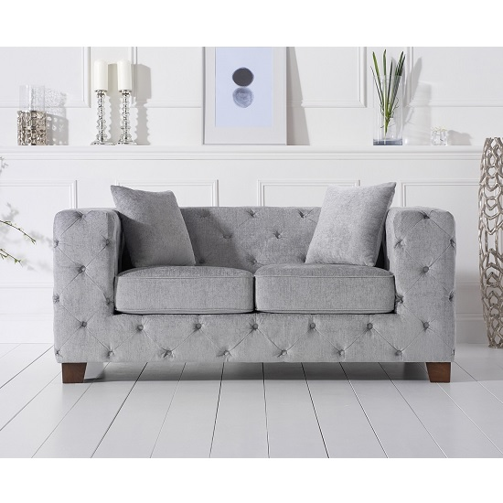 Winter Chesterfield 2 Seater Sofa In Grey Plush Fabric