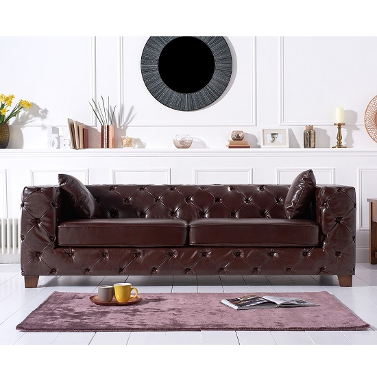 Winter Chesterfield 3 Seater Sofa In Brown Leather And Wood Legs