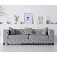 Photo of Winter chesterfield 3 seater sofa in grey plush fabric