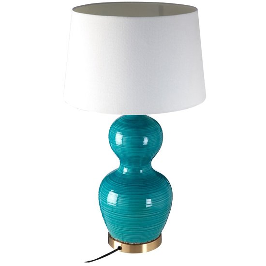 Wipen White Fabric Shade Table Lamp With Blue Ceramic Base_2