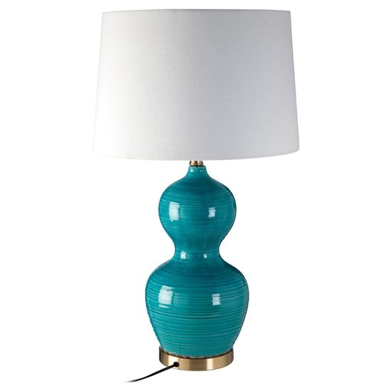 Wipen White Fabric Shade Table Lamp With Blue Ceramic Base_1