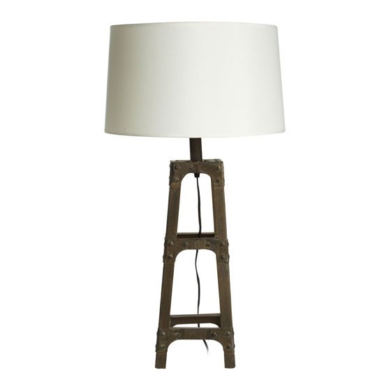 Wipen White Fabric Shade Table Lamp With Robust Metal Base_1