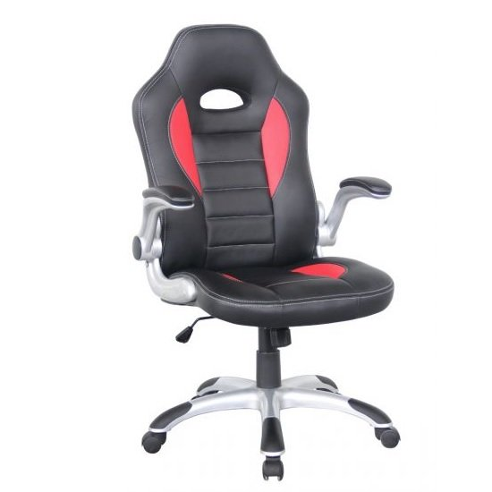 View Witney home office chair in black and red faux leather