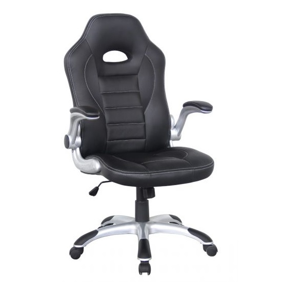 Witney Home Office Racing Chair In Black Faux Leather