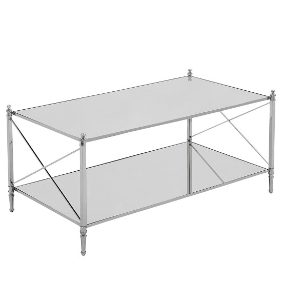 Witney Mirrored Glass Rectangular Coffee Table With Chrome Frame