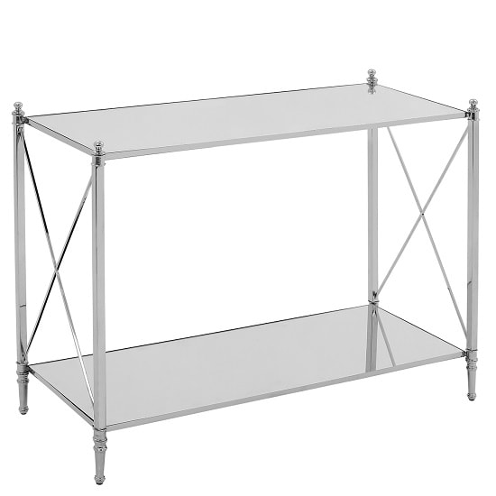 View Witney mirrored glass console table with chrome frame