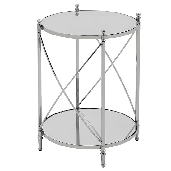 View Witney mirrored glass round side table with chrome frame