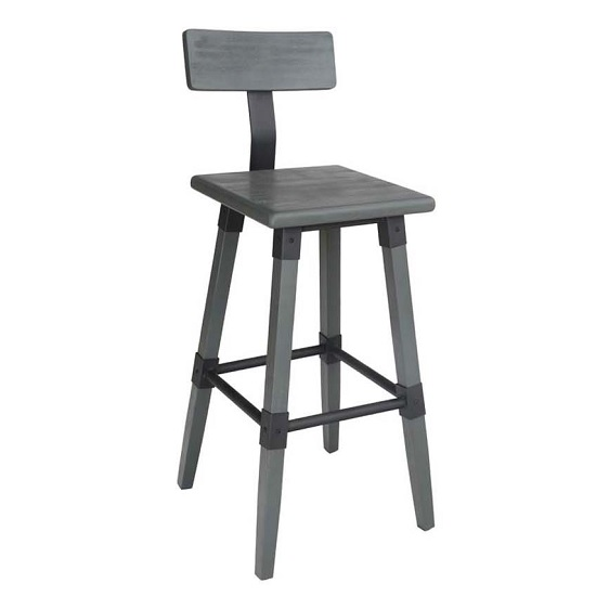 Wito Wooden Bar Stool In Grey Elm With Steel Frame