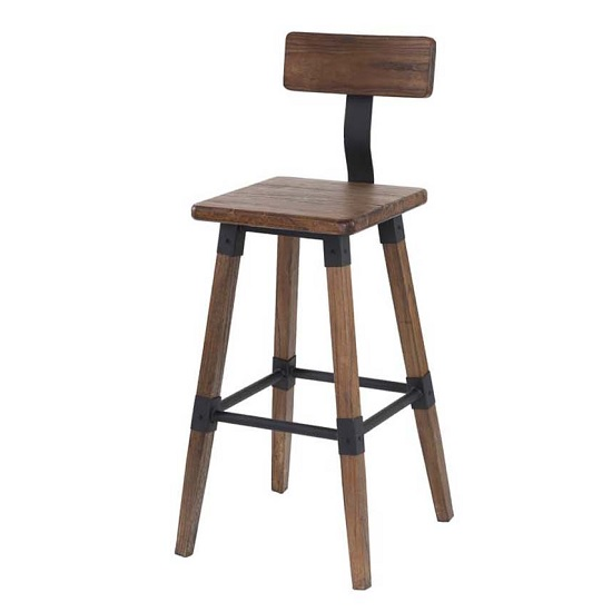 Wito Wooden Bar Stool In Rustic Brown Elm With Steel Frame