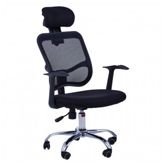 Wivon Home And Office Rolling Base Fabric Chair In Black