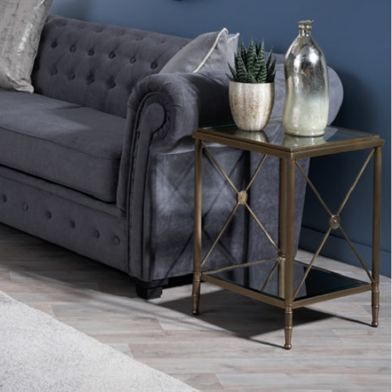 Woburn Glass Side Table Square In Clear With Antique Brass Frame_1
