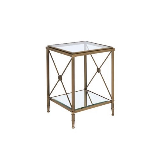 Woburn Glass Side Table Square In Clear With Antique Brass Frame_2