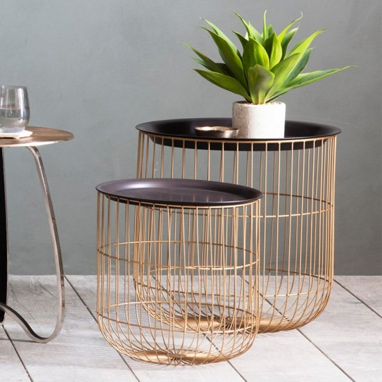 Woburn Nest Of Tables In Black With Brass Metal Base
